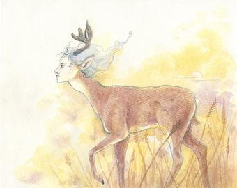 ACEO fairy deer boy fantasy watercolor print - The Deer, at Dusk