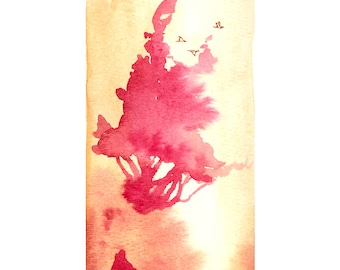 Lift into the Light - 5x7 print - minimal surreal watercolor tree & birds painting