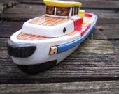 Red ,White and Blue  Wooden Toy  Tug Boat