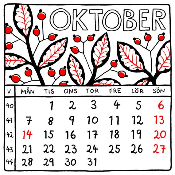 SQUARE US Holidays Swedish 2019 Calendar Printable Monthly Etsy