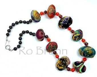 Arabian Nights, Rust, orange, green and black velvet, fabric and beaded necklace