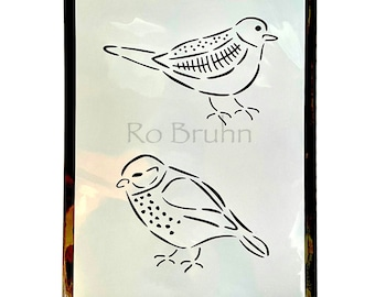 Stencil, mylar, Birds of a Feather, designed and machine cut by me