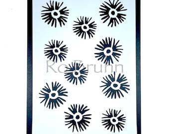 Stencil, mylar, designed and machine cut by me, sea anemone