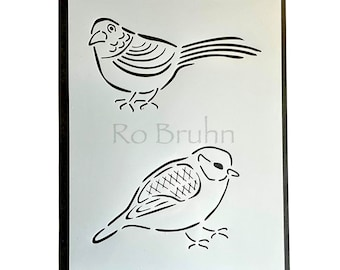 Stencil, mylar, Budgie and Friend, designed and machine cut by me