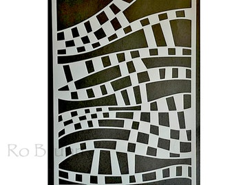 Stencil, Fractured Squares, designed and machine cut by me