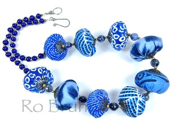 Shades of Blue Skies fabric and beaded necklace