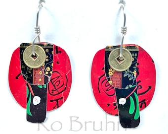 Funky, Boho, Tin Earrings in Black, Red, White and Green