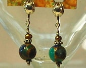 Turquoise, golds, indigo round semi precious jasper, golden fresh water pearls and Bali sterling silver beaded non pierced earrings