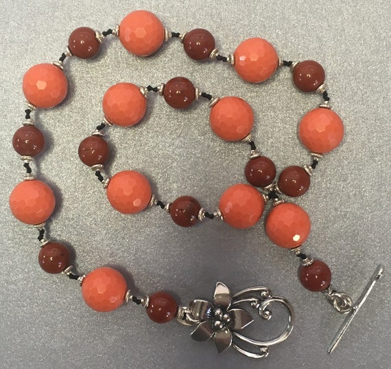 gorgeous 925 sterling silver flower toggle clasp necklace red jasper sterling silver beads Hand knotted semi precious orange jade