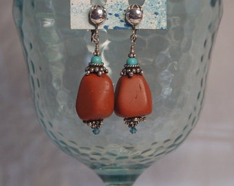 Large Red Jasper nuggets, turquoise and Bali sterling silver non pierced gemstone earrings.