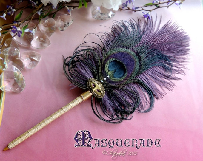 MASQUERADE Ostrich Plume Peacock Ballpoint Feather Pen -