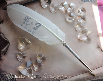 CUSTOM Personalized Wedding FEATHER PEN - Silver or Gold - Calligraphy Initials & Date