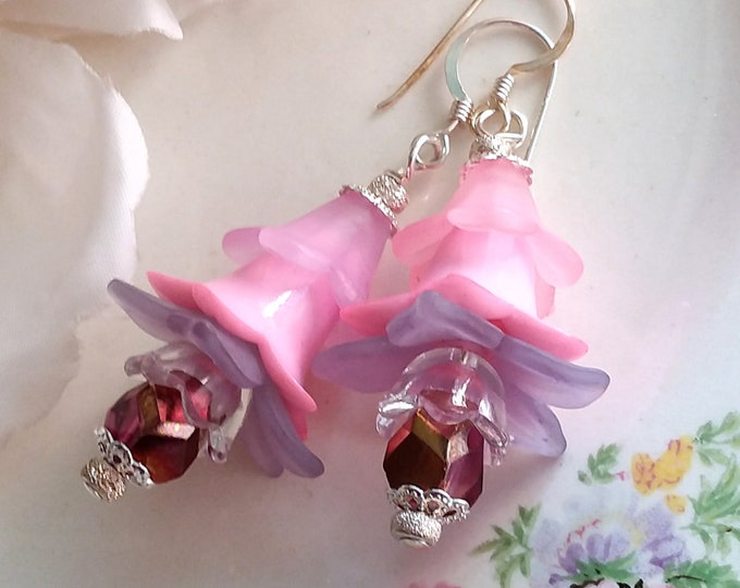 Lovely FAERIE FLOWER Fuschia Petticoats Earrings by ChaeyAhne