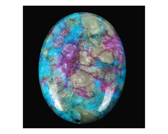 Turquoise & Violet Oval FIRE Agate Pendant Bead 30x22x7mm