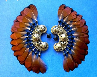 Vintage ASHLOCK Golden Pheasant Feather Earrings - 23k Gold Plate GORGEOUS