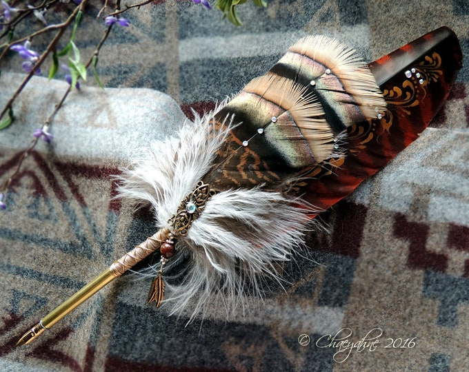 Red FOX FEATHER Kitsune Totem Feather Quill Pen CSD