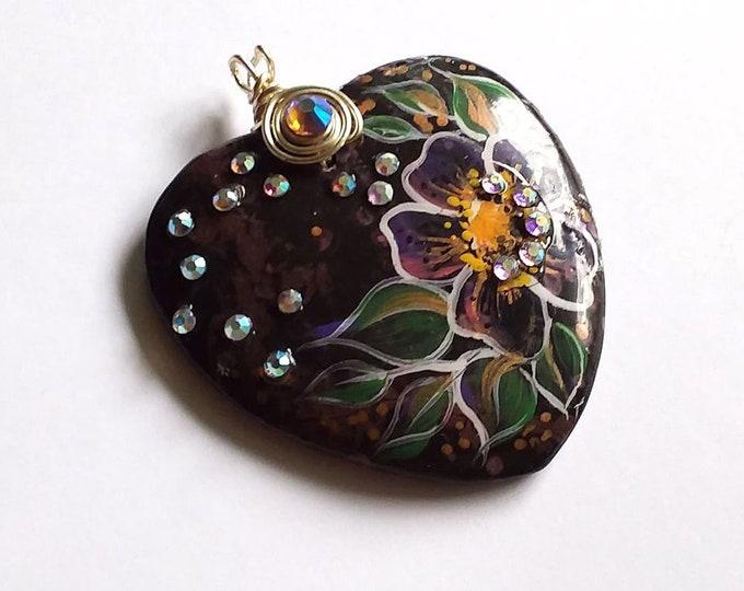 Plum Blossom Jasper WILD ROSE HEART Pendant Necklace