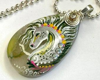 Geode Agate Green Dapple SPIRIT HORSE Pendant & Necklace - Folk Art Ponies