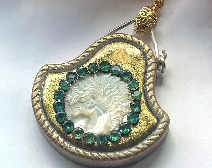 MOTHER of PEARL & Emeralds Carved HORSE Artisan Pendant - Gold Leaf