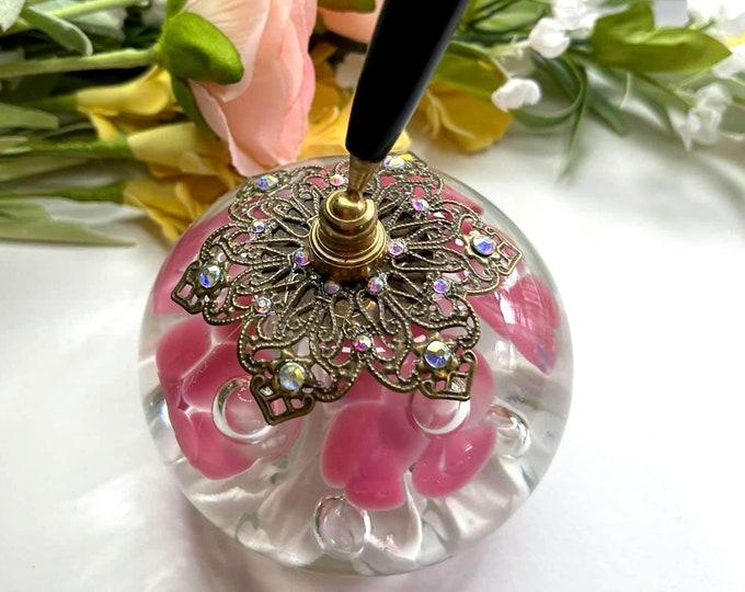PINK and WHITE Trumpet Flower VINTAGE St Clair Artisan Glass Pen Holder