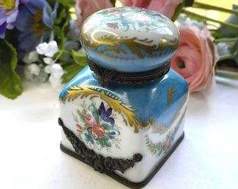 Gorgeous GILT French LIMOGES Porcelain Inkwell & Pen Holder