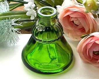 Vintage WHEATON Recorder UMBRELLA Ink Bottle - Emerald GREEN