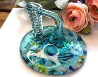 GORGEOUS Turquoise & Aqua Blown Art Glass Pen Holder - Translucent