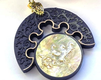 Gorgeous Carved Mother of PEARL & Gold Leaf WILD HORSES Artisan Pendant
