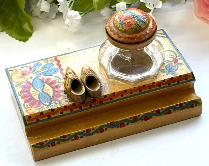 Antique Hand Carved and Painted Wooden INKWELL & Pen Stand - Czechoslovakia