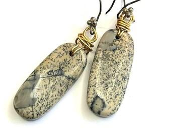 Organic Boho PICASSO JASPER Wire Wrap Earrings