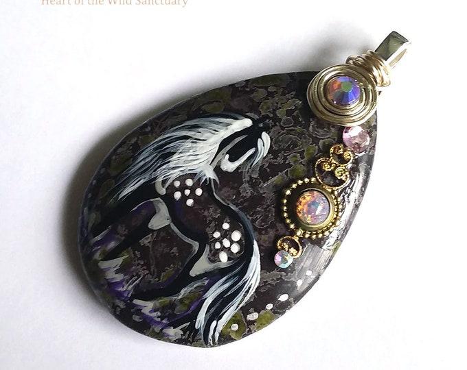 Plum Blossom Jasper DAPPLE SPIRIT HORSE Pendant Necklace - Folk Art Ponies