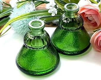 Vintage WHEATON Recorder Textured UMBRELLA Ink Bottle - Emerald GREEN