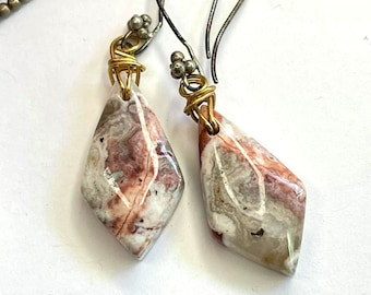 Organic Boho Crazy Lace Agate Wire Wrap Earrings
