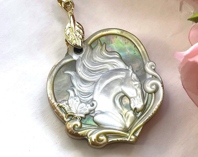 Gorgeous Carved MOTHER of PEARL Spirit HORSE Artisan Pendant
