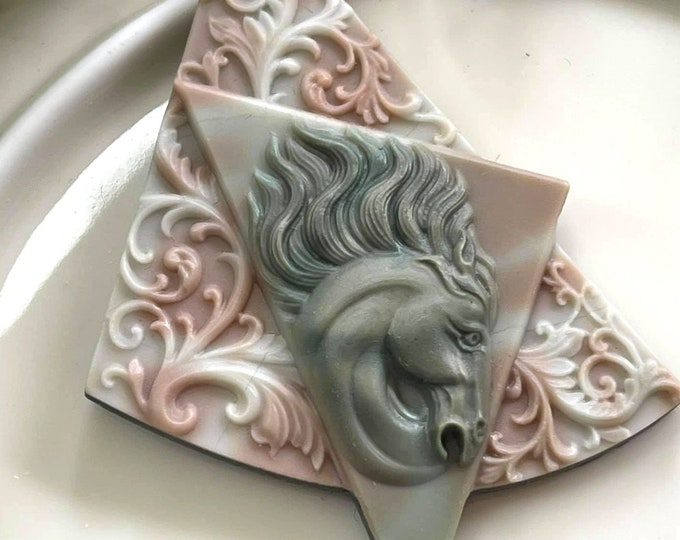 LOVELY Carved Ribbon Jasper SPIRIT HORSE Artisan Pendant