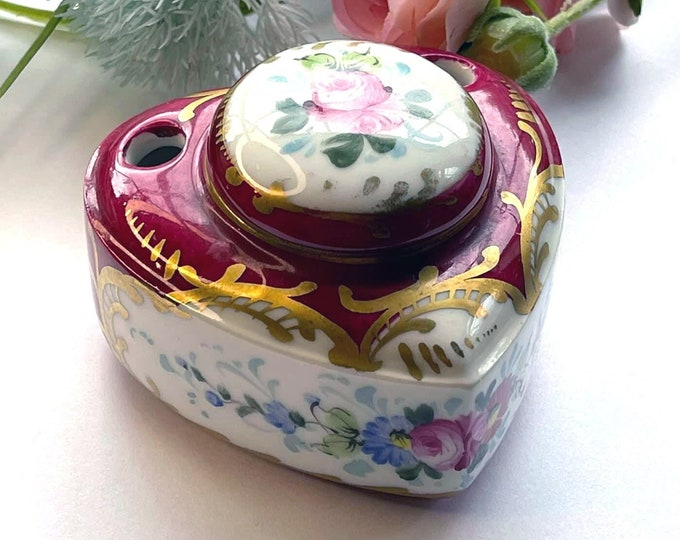 Beautiful Hand Painted Antique Limoge Porcelain Inkwell Pen Holder