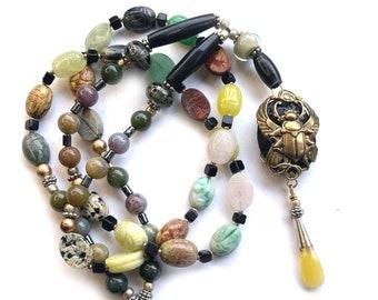 ROYAL SCARAB Multi-Gemstone Egyptian Pendulum Prayer Bead Tunic Necklace