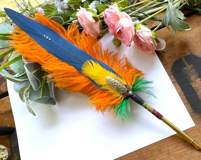 BIRD of PARADISE Blue & Gold Macaw Feather Quill Pen