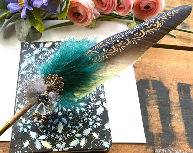 The LORLEI Artisan Crafted Sea Siren Feather Quill Dip Pen & Journal