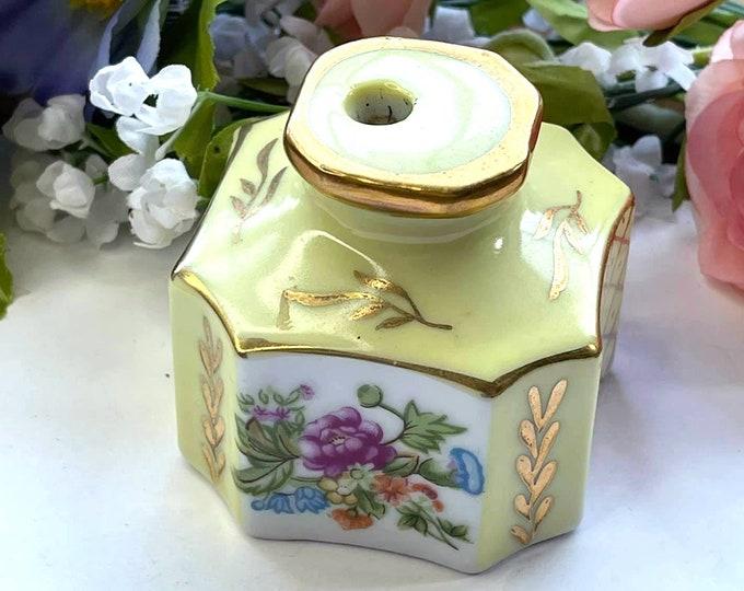 LOVELY Vintage KALK Floral & Gold Porcelain Pen Holder