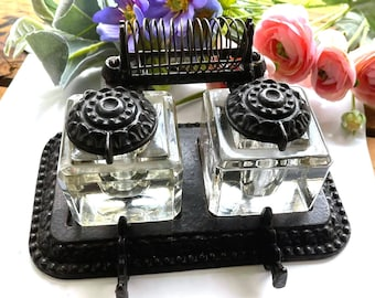 Very RARE Tatum's Antique Elite POSTAL Office Stand Double Inkwell - EXCELLENT