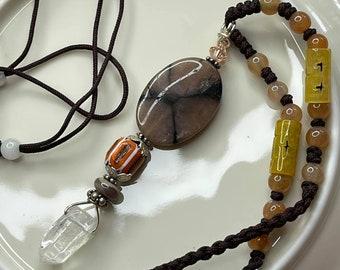 FAERIE Cross Hand Beaded CHIASTOLITE ANDALUSITE Pendulum Necklace