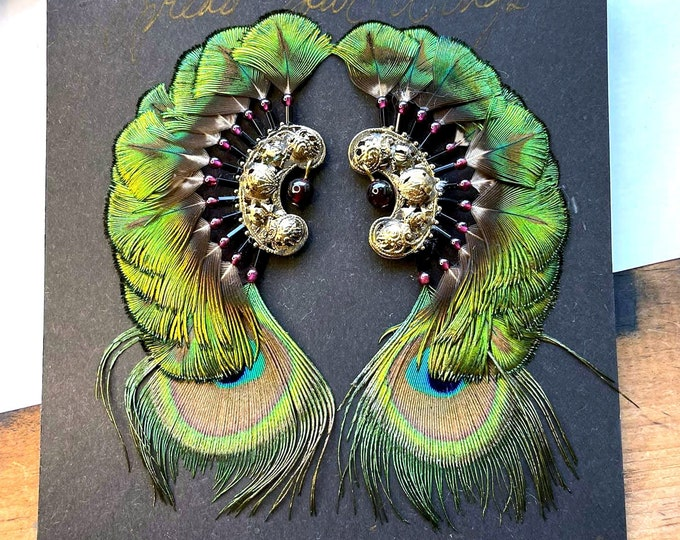 Vintage ASHLOCK Peacock Feather Earrings - 23k Gold Plate GORGEOUS