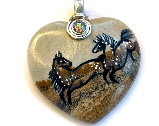 Picasso Jasper SPIRIT HORSE Pendant & Necklace - Folk Art Ponies