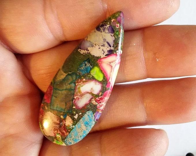 Beautiful Rainbow Shades Sea Sediment Jasper Pendant Bead 49x20x6mm