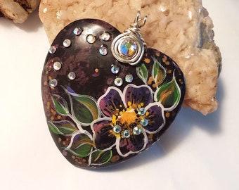 Plum Blossom Jasper WILD ROSE HEART Pendant & Necklace