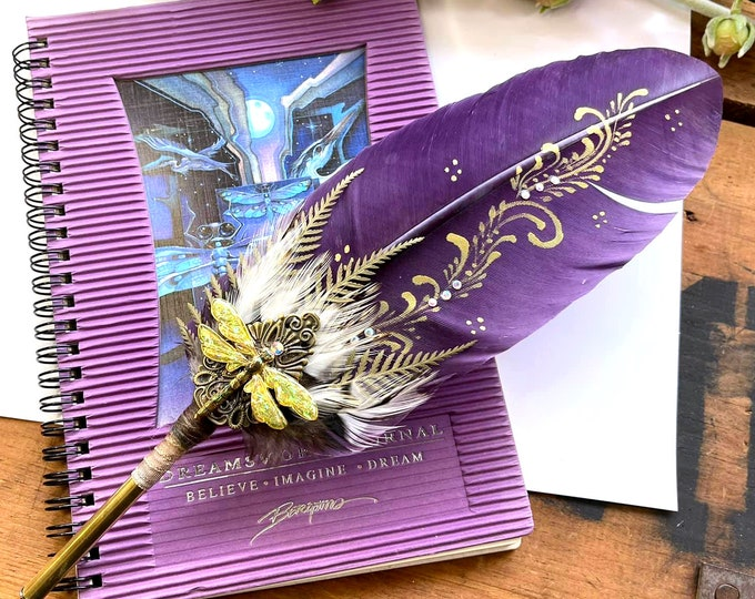 DRAGONFLY MAGICK Artisan Crafted Feather Quill Dip Pen & Journal