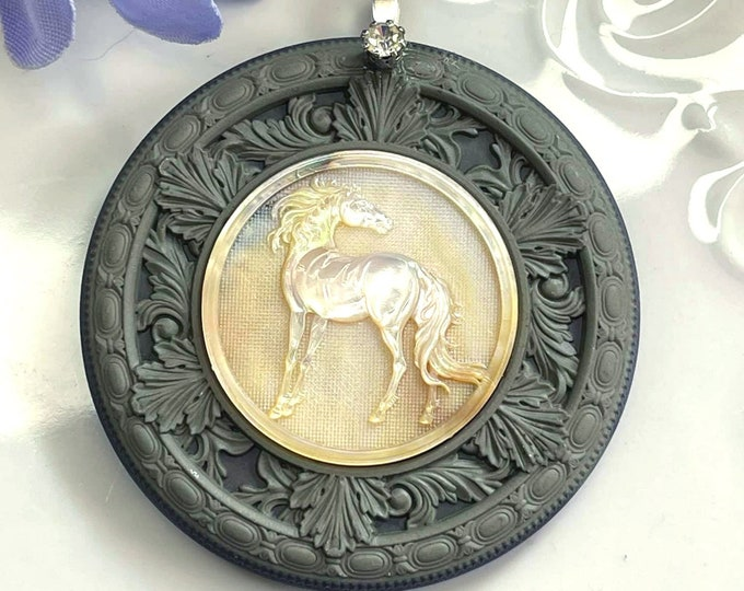 Beautiful Carved MOTHER of PEARL Spirit HORSE Artisan Pendant