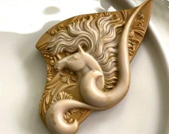 LOVELY Carved Ribbon Jasper SPIRIT HORSE Artisan Pendant