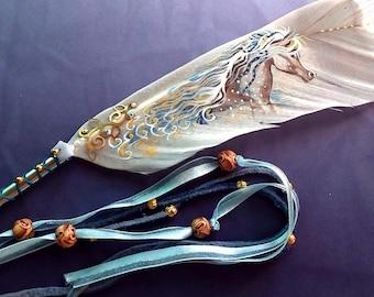 ooak BLUE WINDSWEPT PONY Painted Artisan Feather Fan